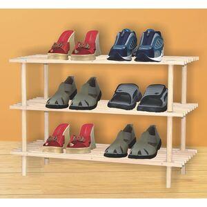 Schuhregal mit 3 Ablageböden Unbehandelt