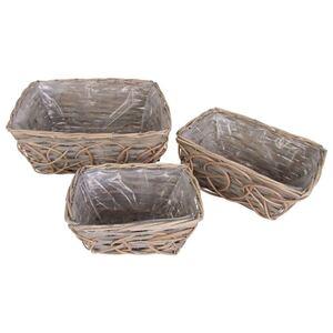 Pflanzkörbe aus Weide und Holz eckig 3er-Set