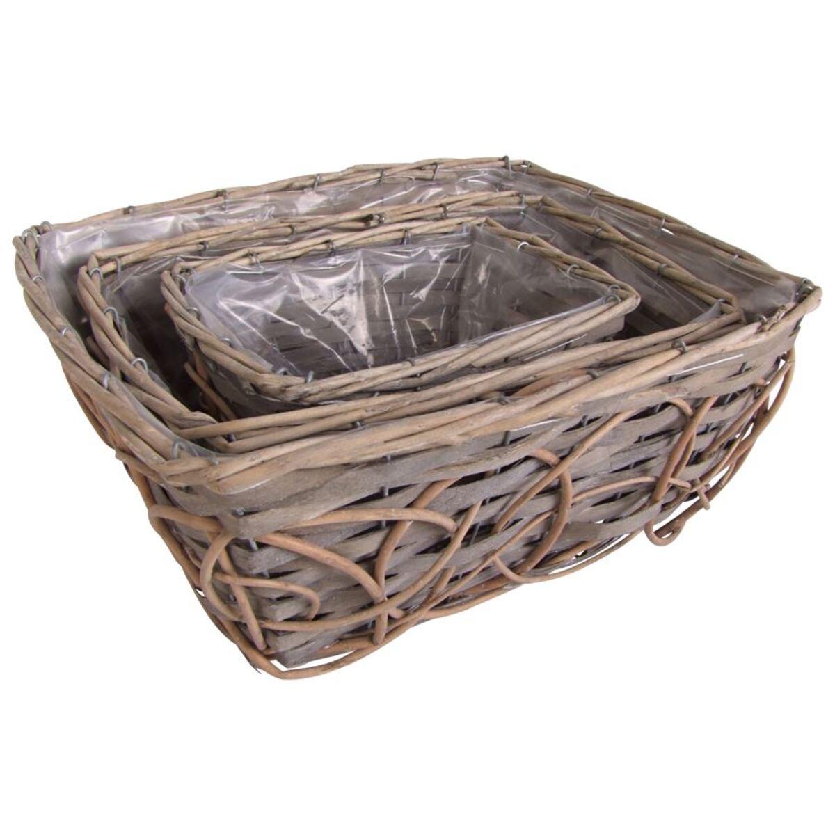 Bild 2 von Pflanzkörbe aus Weide und Holz eckig 3er-Set