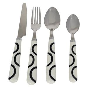 Besteck-Set Schwarz/Weiß mit Muster