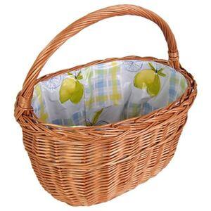 Weiden-Einkaufskorb mit Innenfolie Zitrone