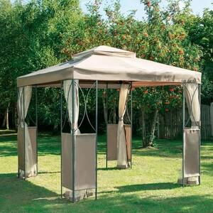 Pavillon 2,5 x 2,5 m mit Moskitonetzen taupe