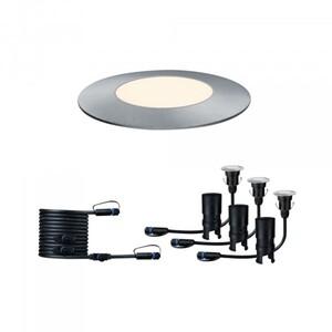 Paulmann Plug & Shine Bodeneinbauleuchte Floor Mini Set ,  IP65, 3000 K, 3 x 2,5 W, 24 V, silber