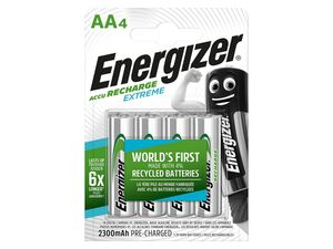 Energizer  NiMH Akkumulator Extreme, Mignon AA Batterie, 2300 mAh, vorgeladen 4 Stück