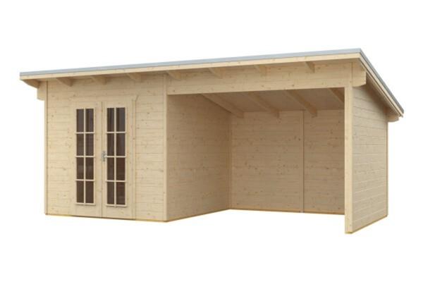 SKAN HOLZ Gartenhaus Texel ,  Größe 550 x 250 cm, Wandstärekte 28 mm, unbehandelt