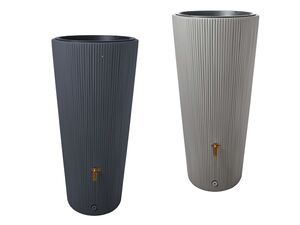 """4rain Regentonne """"VASO 2in1 Decor"""", Volumen 220 Liter, Höhe 120 cm, inkl. Pflanzschale"""