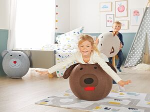 LIVARNO LIVING®  Kinder Sitzball, aufblasbar, weicher Bezug, verdeckter Reißverschluss