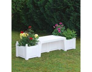 KHW Gartenbank 43001 mit Pflanzkästen weiß