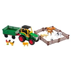 Farm Traktor mit Anhänger und Tieren