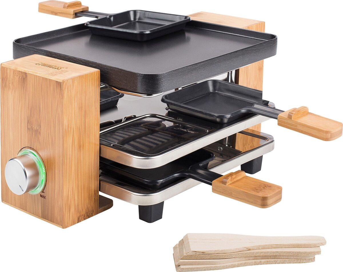 Bild 2 von PRINCESS Raclette Pure 4 162900, 4 Raclettepfännchen, 700 W, 2m Kabellänge, mit Bambusausführung