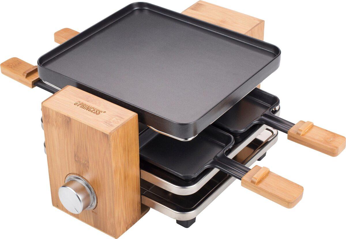 Bild 3 von PRINCESS Raclette Pure 4 162900, 4 Raclettepfännchen, 700 W, 2m Kabellänge, mit Bambusausführung