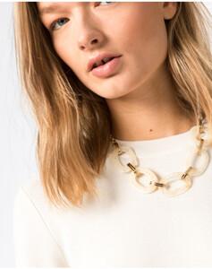 Hallhuber Halskette mit Elementen in Horn-Optik für Damen Gr. One Size in milchkaffee