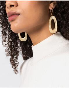 Hallhuber Ohrhänger in organischer Form für Damen Gr. One Size in milchkaffee