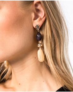 Hallhuber Ohrhänger im Materialmix für Damen Gr. One Size in gold