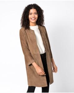 Hallhuber Mantel aus pflanzlich gegerbtem Veloursleder für Damen in taupe