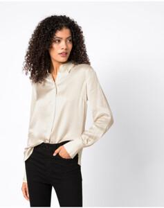 Hallhuber Hemdbluse aus Satin für Damen in creme