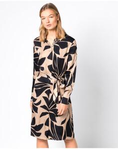 Hallhuber Hemdblusenkleid mit Maxi-Blumenprint für Damen in schwarz