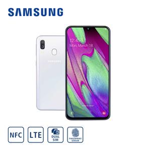 Smartphone Galaxy A40 A405F · Frontkamera (25 MP) · Dual-Rückkamera (5 MP/16 MP) · 4-GB-RAM, bis zu 64-GB-interner Speicher · microSD™-Slot bis zu 512 GB · nanoSIM · Android™ 9.0, Bildschi
