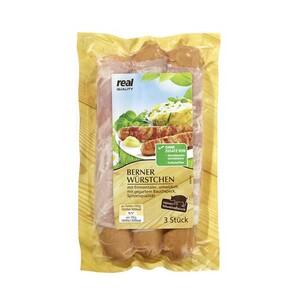Berner Würstchen Käsewürstchen mit Räucherspeck umwickelt, jede 250/300-g-SB-Packung