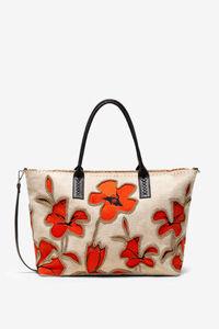 Shopping-Bag mit Hibiskusblüten und Perlen