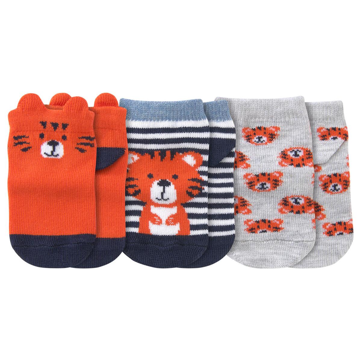 Bild 1 von 3 Paar Baby Sneaker-Socken mit Tiger-Motiv
