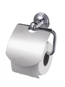 Badkomfort WC-Rollenhalter, Toilettenpapierhalter mit Klappe, Edelstahl verchromt