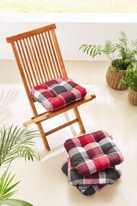 Solax Sunshine Sitzkissen Flocke, Karo Rot-Grau - 4er Set
