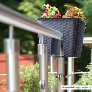 Powertec Garden Balkongeländer Pflanzkasten, Braun - 2er Set