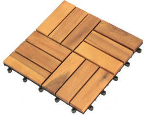Holz-Terrassenfliese, 10-er Pack, Akazie, ca. 30 x 30 x 2,3 cm