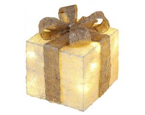 LED-Geschenkbox creme-gold ca.20x20cm