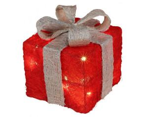 LED-Geschenkbox rot-silber ca. 10x10cm