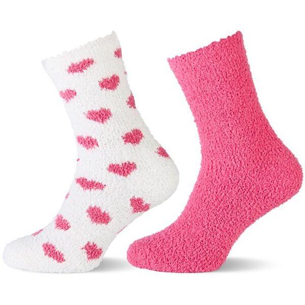 Kinder Kuschelsocken - rosa u. weiß/rosa Herzen Gr. 31/34