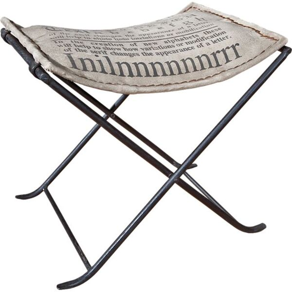 Inter Link Kalinga Sitzhocker Metall, mit Canvas grau