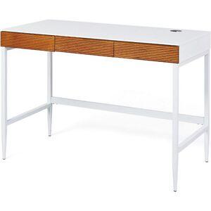 Inter Link Schreibtisch Scandici D in Weiss und Wildeiche mit 3 Schubladen