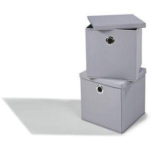 Dekor Aufbewahrungsboxen mit Deckel, 2er Set, verschiedene Farbausführungen - grau