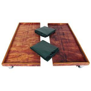 Strandkorb-Rollenplattform aus Holz 2er-Set