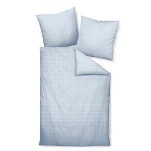 BETTWÄSCHE Makosatin Weiß, Hellblau 155/220 cm