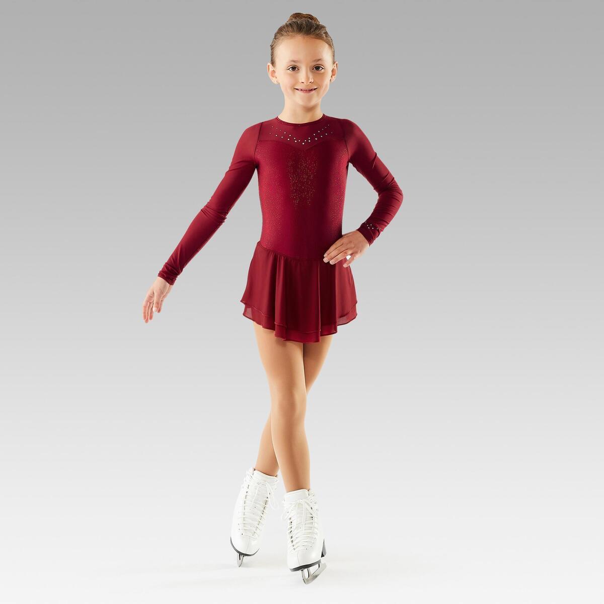 Bild 3 von Eiskunstlaufkleid langarm Kinder bordeaux