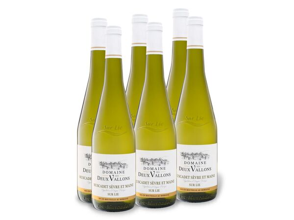6 x 0,75-l-Flasche Weinpaket Domaine des Deux Vallons Muscadet Sèvre et Maine sur Lie AOP trocken, Weißwein