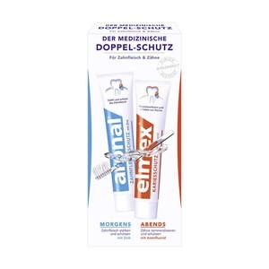 aronal und elmex Zahncreme der medizinische Doppel-Schutz, jede 2 x 75-ml-Doppelpackung