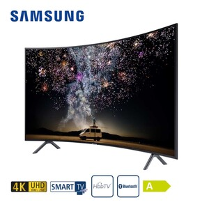 "UE55RU7379 • 3 x HDMI, 2 x USB, CI+ • integr. Kabel-, Sat- und DVB-T2-Receiver • Maße: H 71,5 x B 123,6 x T 10,4 cm • Energie-Effizienz A (Spektrum A++ bis E) • Bildschirmdiagonale: 55""/13"