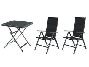 FLORABEST Alu-Balkonmöbel Set mit Klappsessel, 3-teilig, Premium, Anthrazit