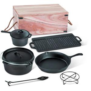 Dutch-Oven-Set, Gusseisen, 7-teilig