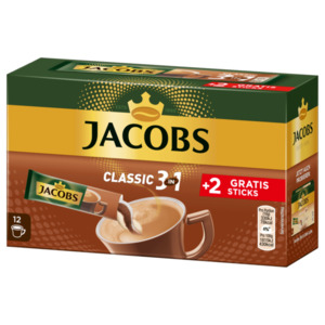 Jacobs Classic 3 in 1, 10+2 Sticks mit Instant Kaffee