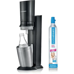 Sodastream® CRYSTAL 2.0, Titan mit einer Glaskaraffe