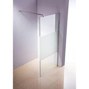 CLP Edelstahl-Duschabtrennung, NANO Glas, Haltestange: RUND (bis zu 3 Glasfarben und 20 Größen wählbar)