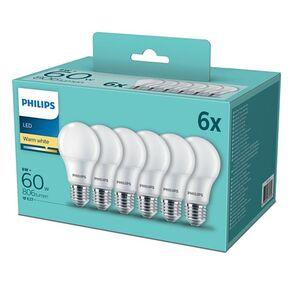 Philips LED Leuchtmittel, 6er Pack, verschiedene Formen & Ausführungen - LED-Birnenform, E27, warmweiß, 60 Watt