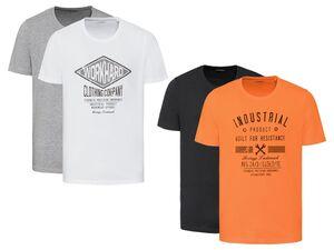 LIVERGY® T-Shirt Herren, 2 Stück, 1x mit Print, mit Baumwolle, trocknergeeignet
