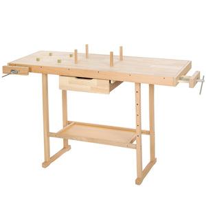 Holz Werkbank mit 2 Schraubstöcken 137 x 50 x 87 cm