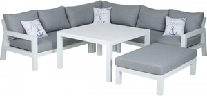 Primaster Aluminium-Dining-Lounge Tirana ,  inkl. Auflagen und Zierkissen, extra tiefe Sitzfläche